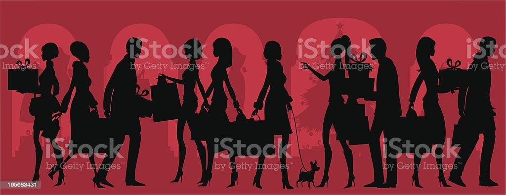 Christmas Shopping Silhouette royalty-free stock vector art