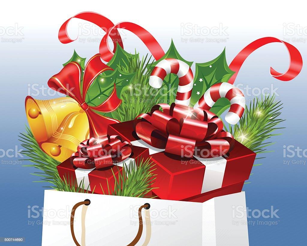 Christmas Shopping vector art illustration