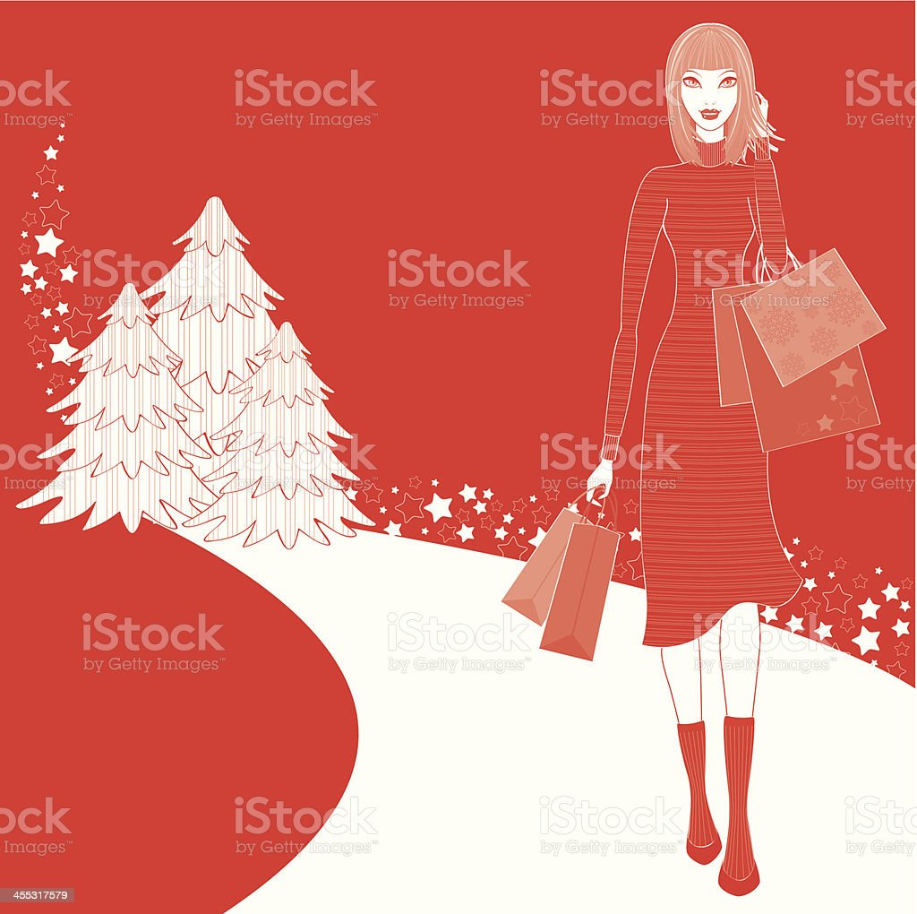 Christmas Shopping Woman Winter royalty-free stock vector art