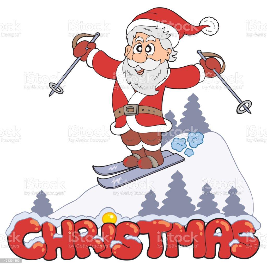 Christmas sign with skiing Santa royalty-free stock vector art