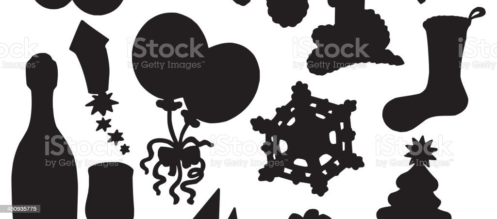 Christmas silhouette collection 03 royalty-free stock vector art