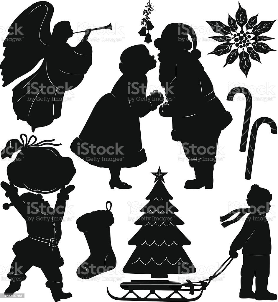 Christmas silhouette set royalty-free stock vector art