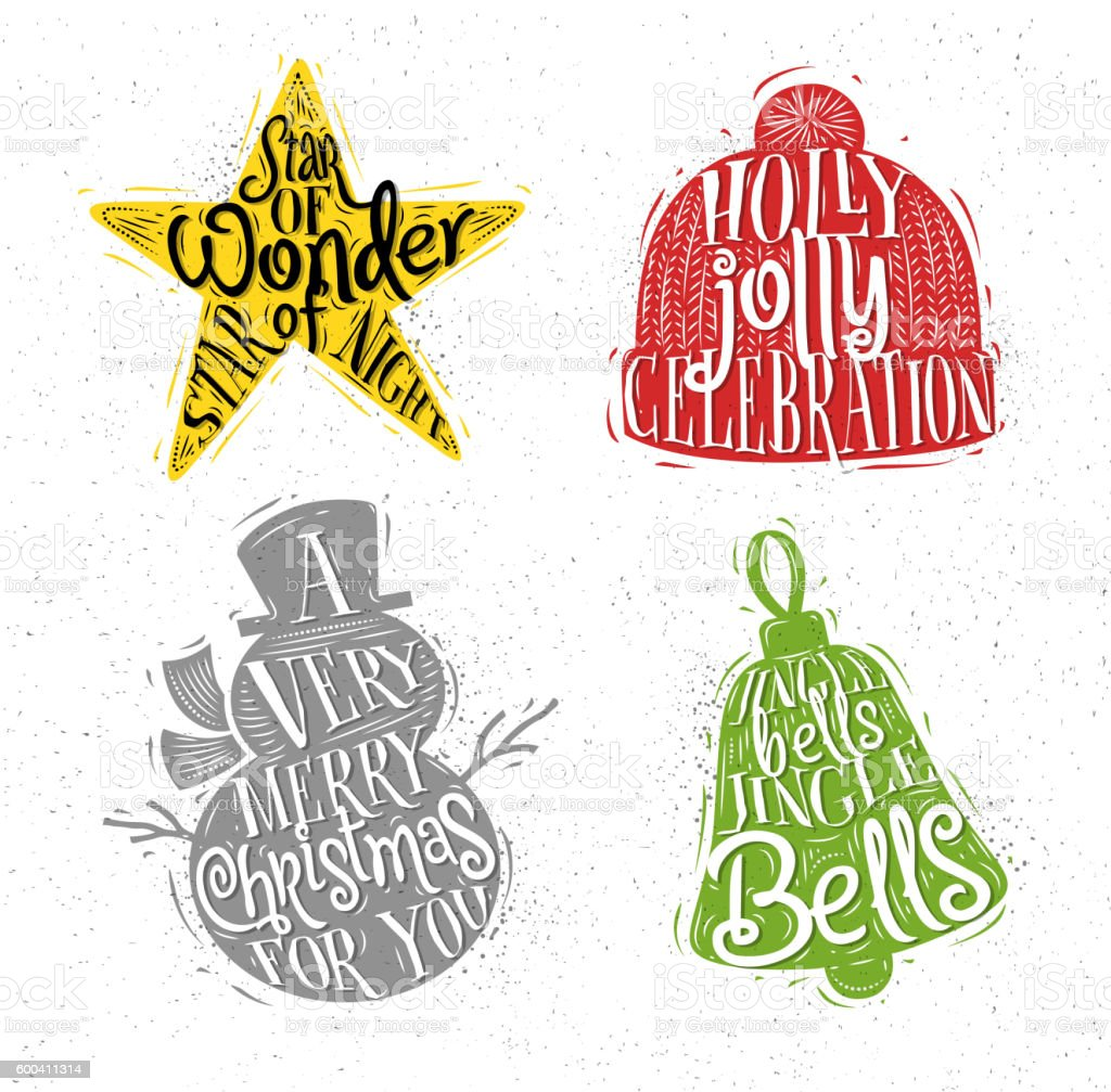 Christmas silhouettes star color vector art illustration