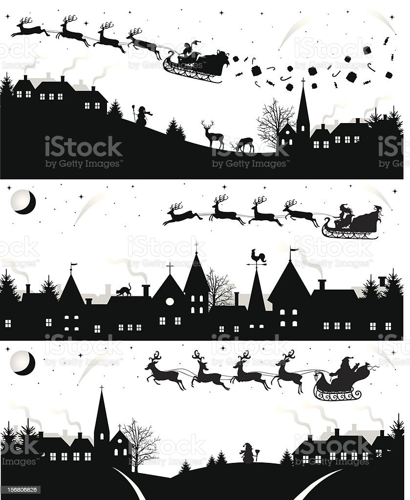Christmas silhouettes. vector art illustration