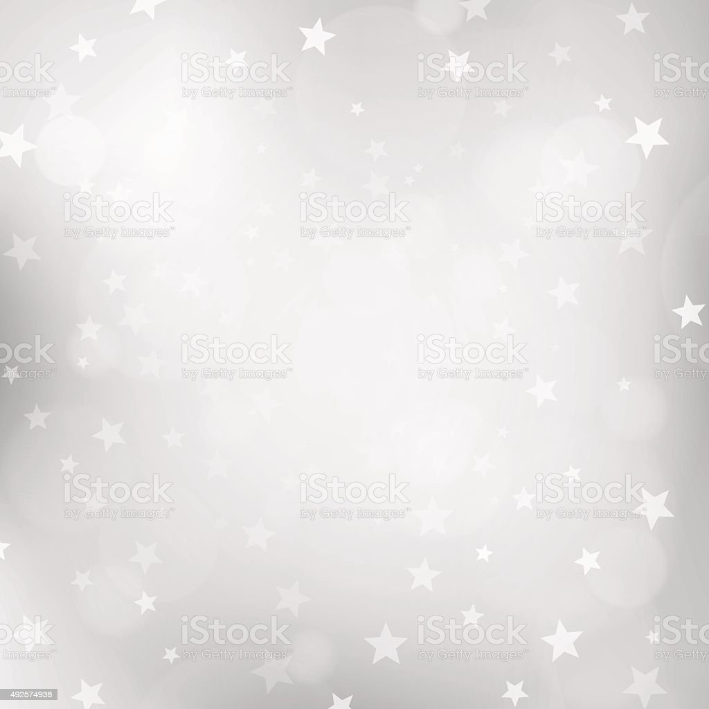 Christmas silver blurred background with stars vector art illustration
