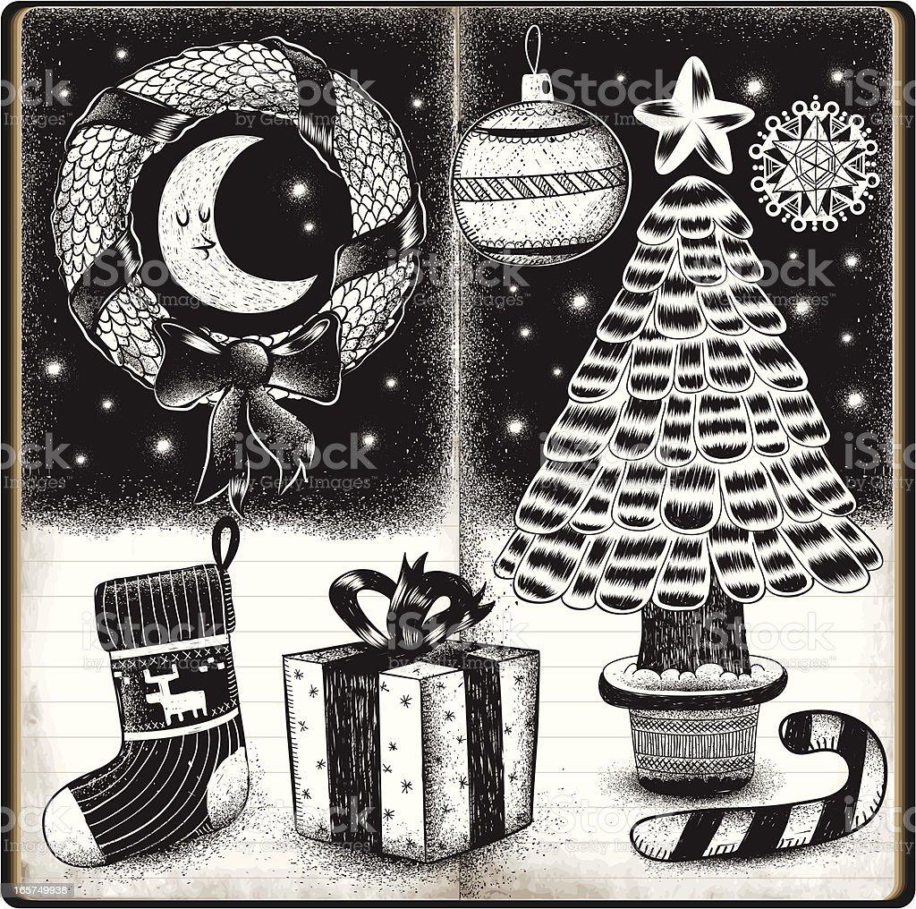 Christmas sketchbook doodles royalty-free stock vector art