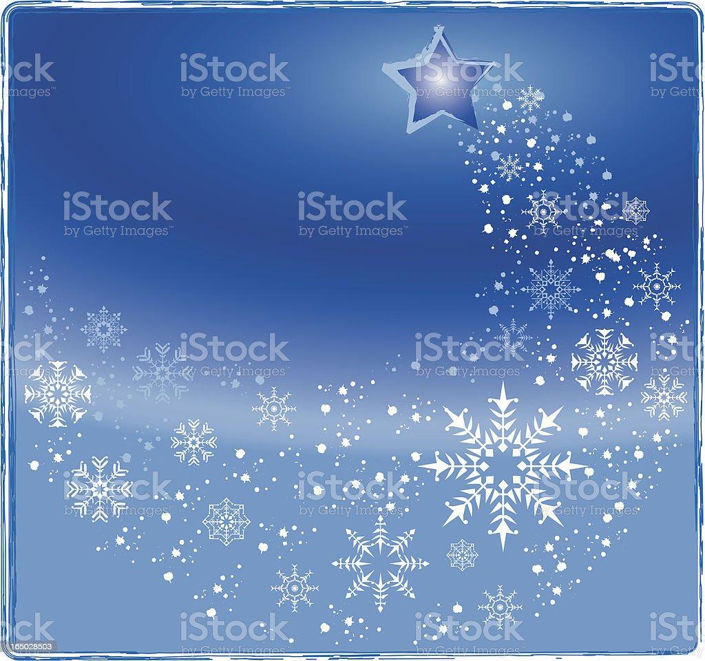 Christmas sky - star and snow vector illustration vector art illustration