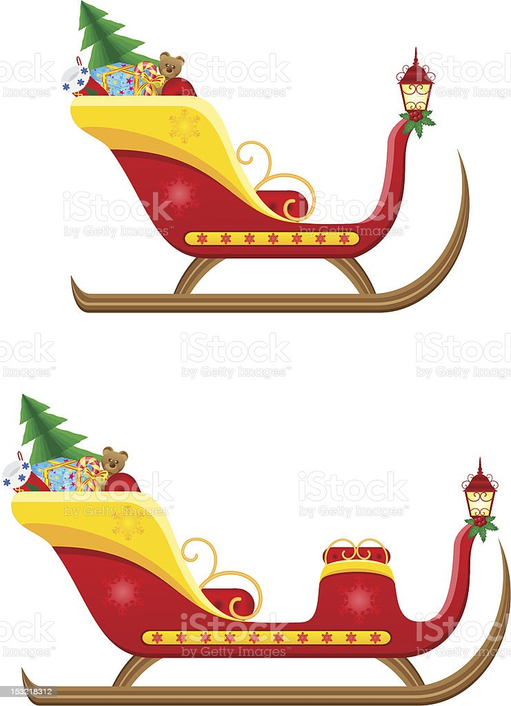 christmas sleigh of santa claus with gifts vector illustration royalty-free stock vector art