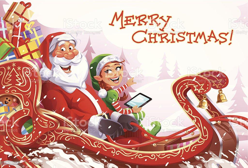 Christmas Sleigh Ride royalty-free stock vector art