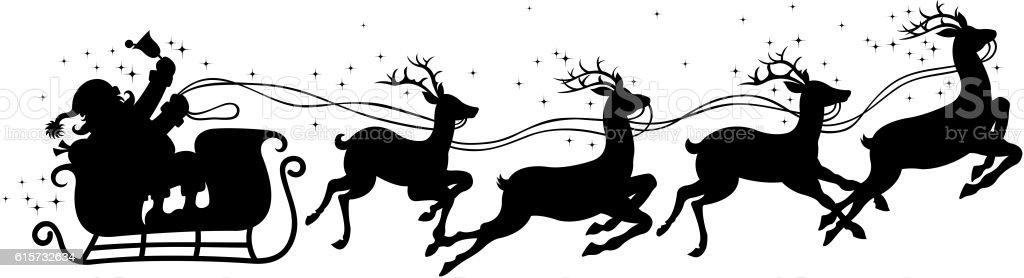 christmas sleigh vector art illustration