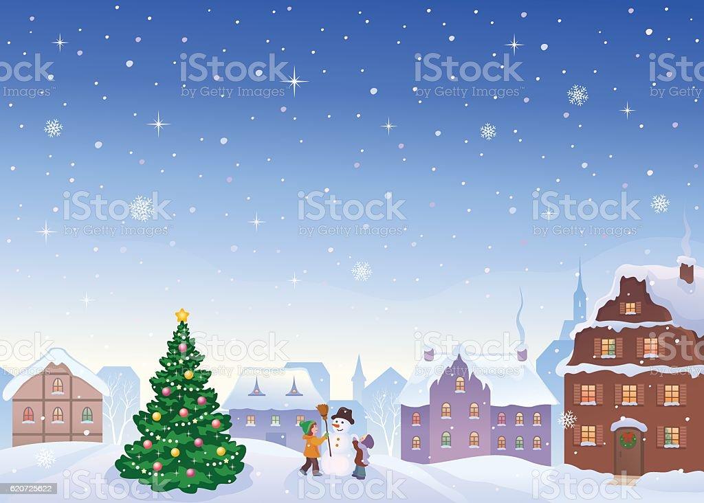 Christmas small town vector art illustration