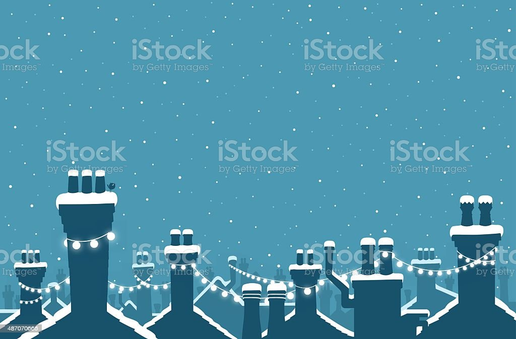 Christmas snow covered chimneys strung with lights vector art illustration