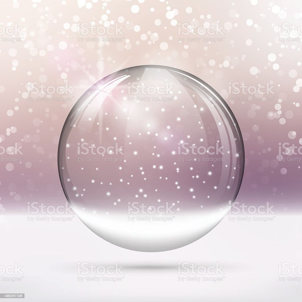 Christmas Snow globe. Merry Christmas lettering on bright purple background vector art illustration