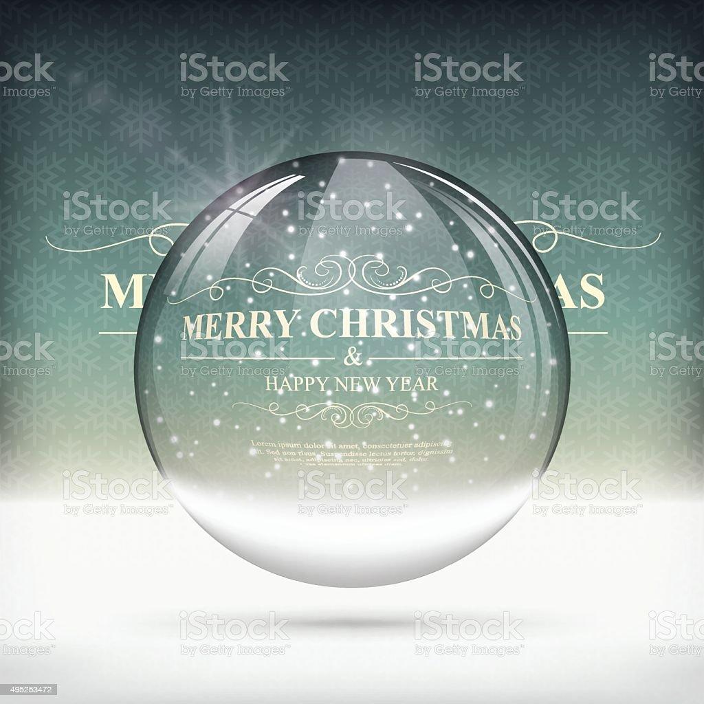 Christmas snow globe on Vintage Background vector art illustration
