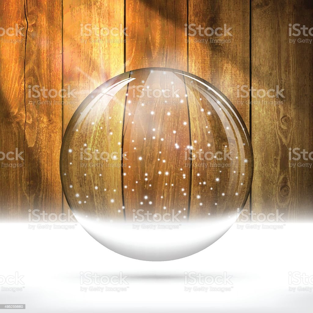 Christmas snow globe on Wooden Background vector art illustration
