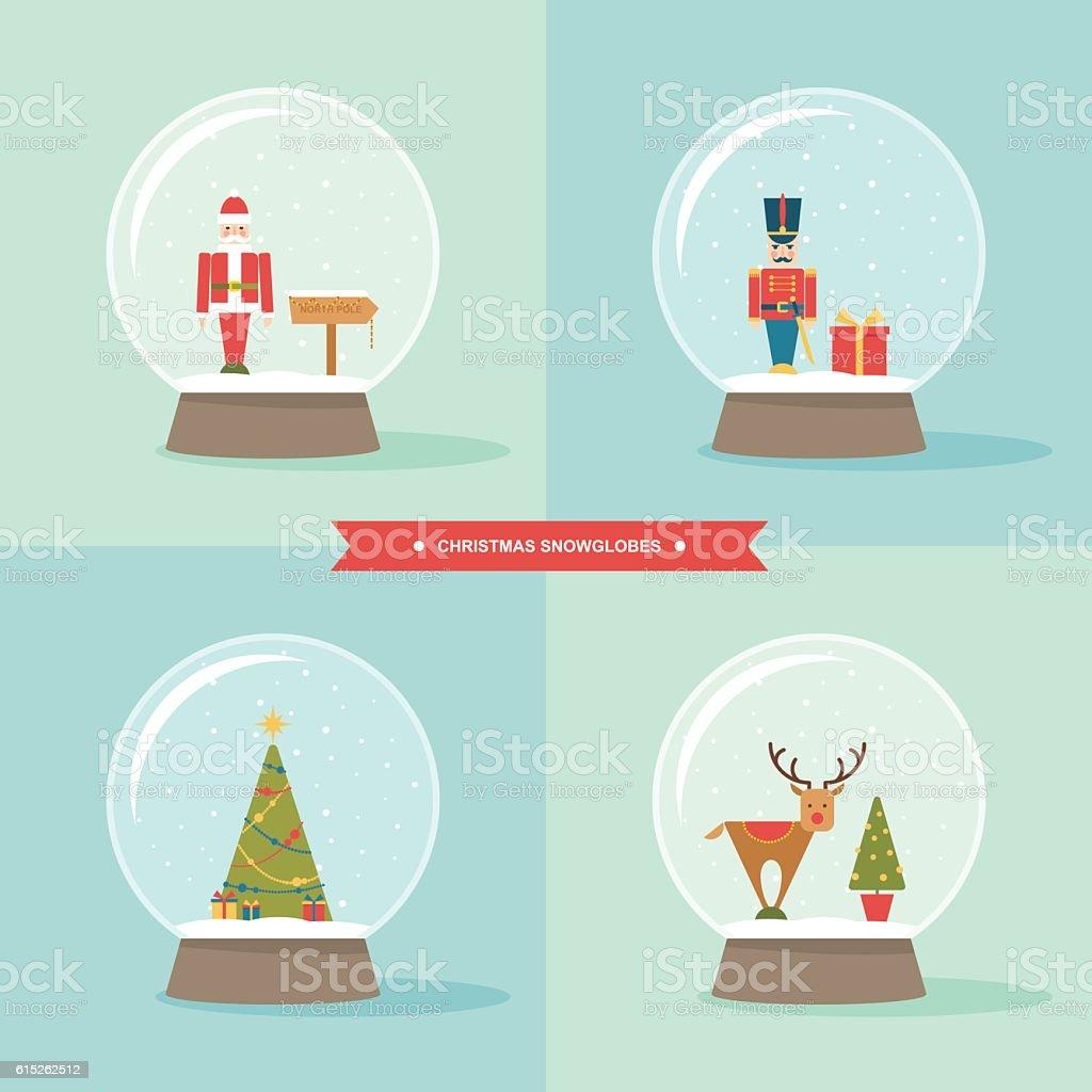 Christmas snow globes flat vector icon set vector art illustration