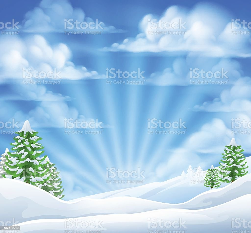 Christmas Snow Winter Background vector art illustration