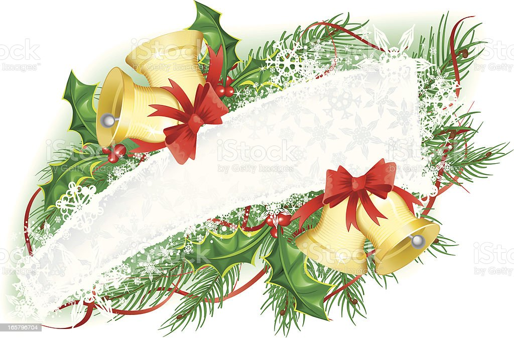 Christmas Snowflake Banner with Bells and Holly Garland royalty-free stock vector art