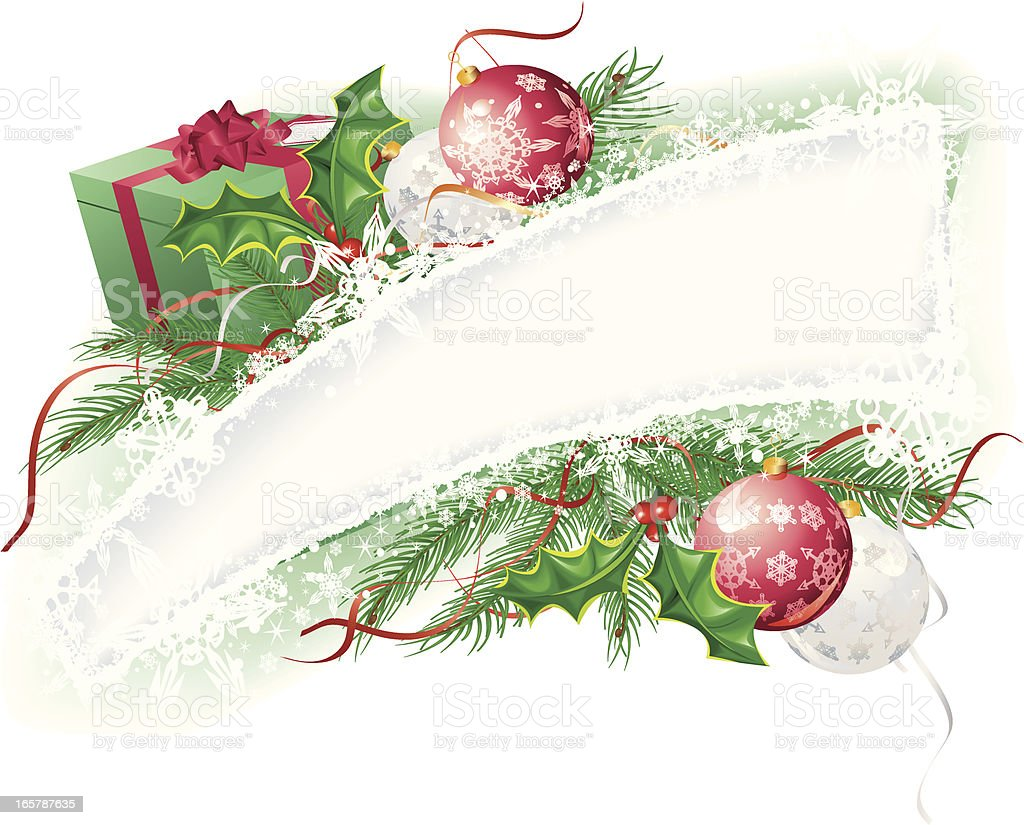 Christmas Snowflake Banner with Present and Holly Garland royalty-free stock vector art