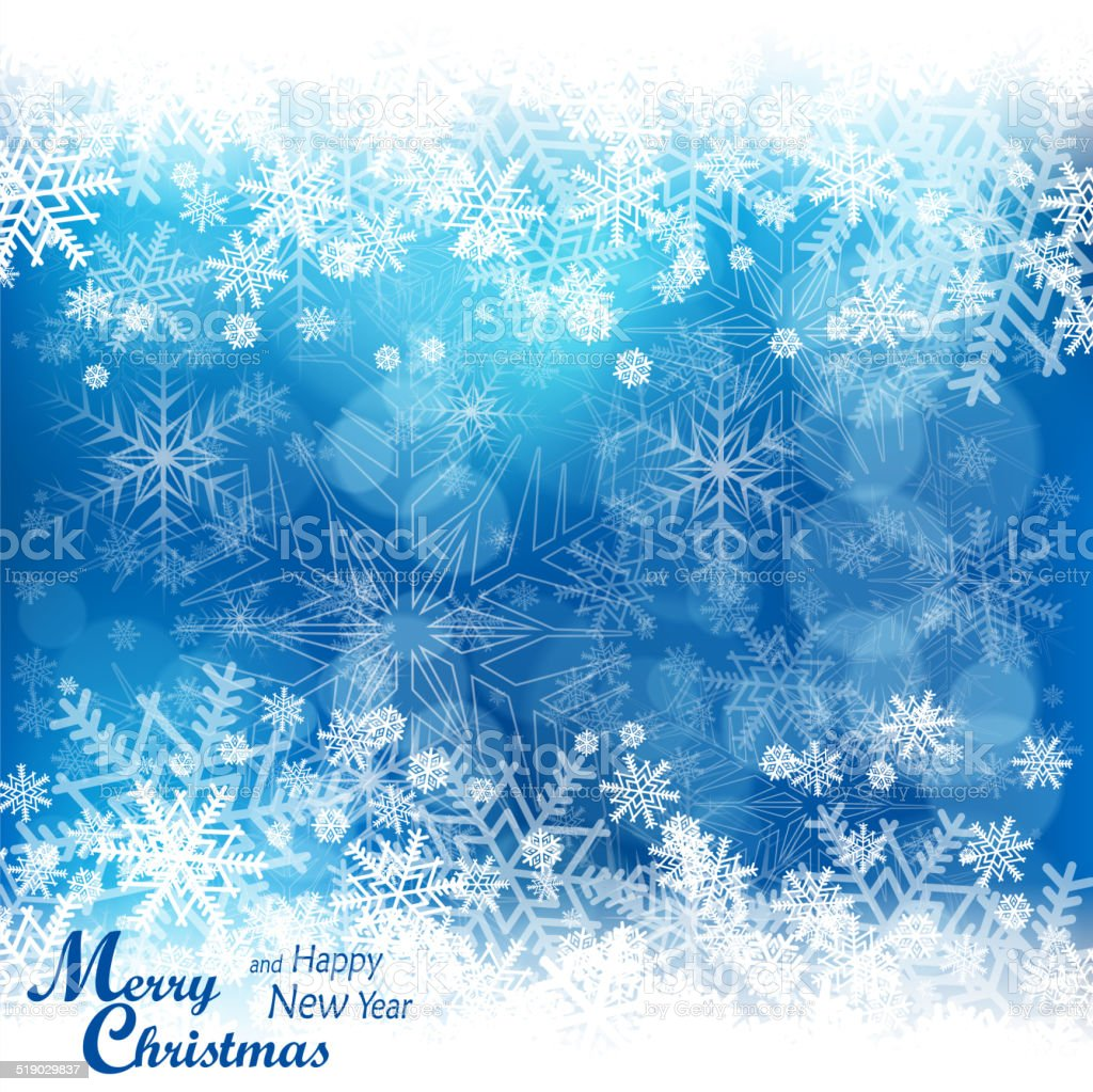 Christmas snowflakes pattern in blue vector art illustration