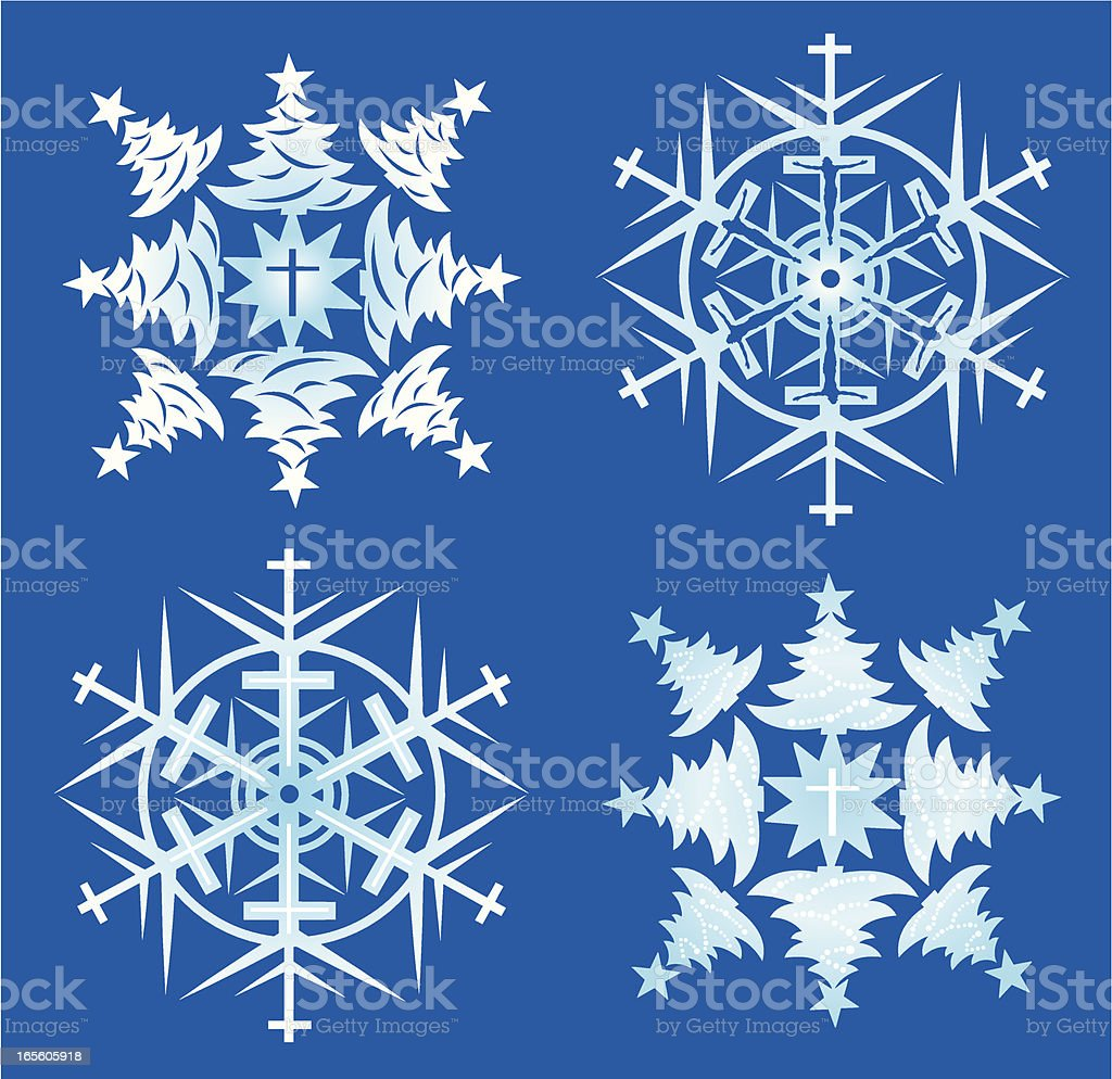 Christmas Snowflakes with Christian Cross royalty-free stock vector art