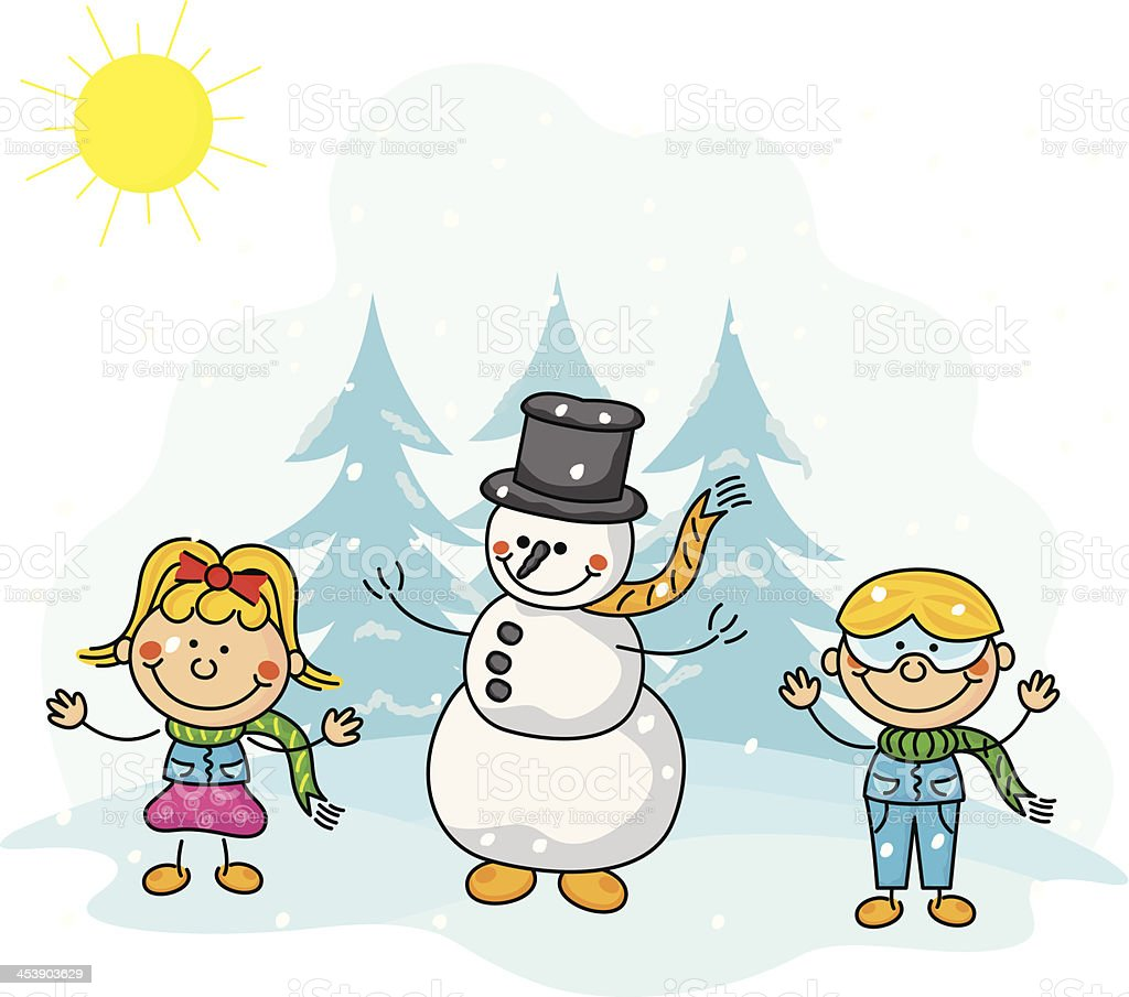 Christmas Snowman and Kids royalty-free stock vector art