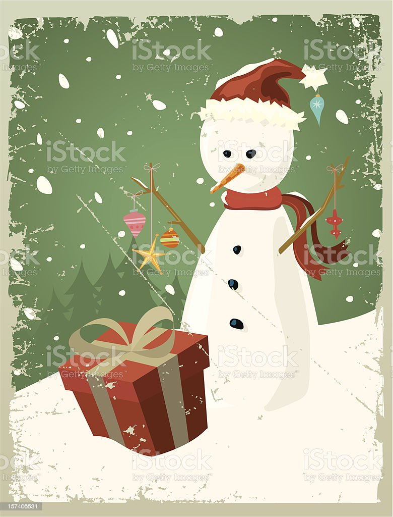 Christmas Snowman card or design royalty-free stock vector art