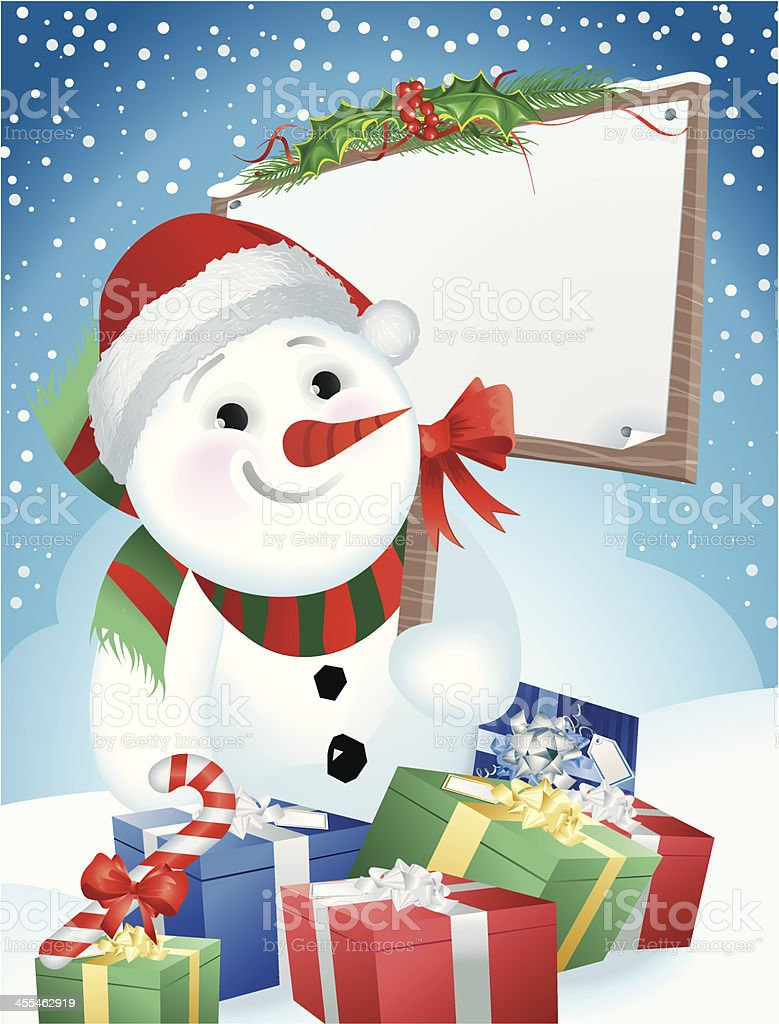 Christmas Snowman Carrying a  Festive Sign with Gifts Scene royalty-free stock vector art
