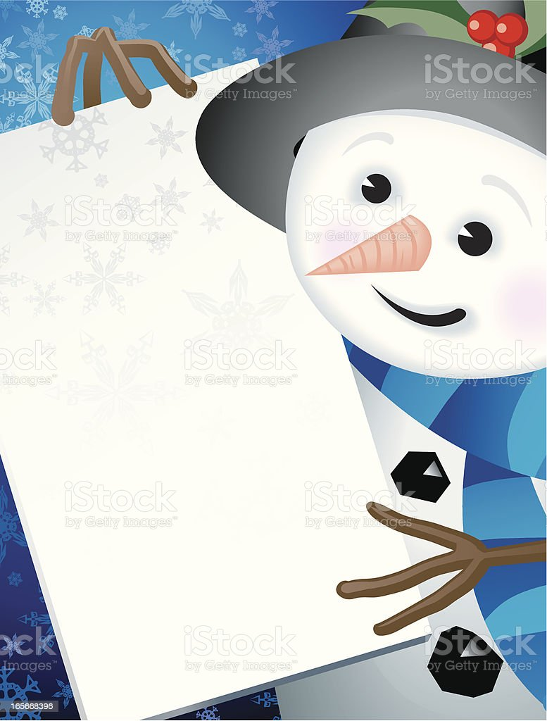 Christmas Snowman Holding A Sign Vertical Background royalty-free stock vector art