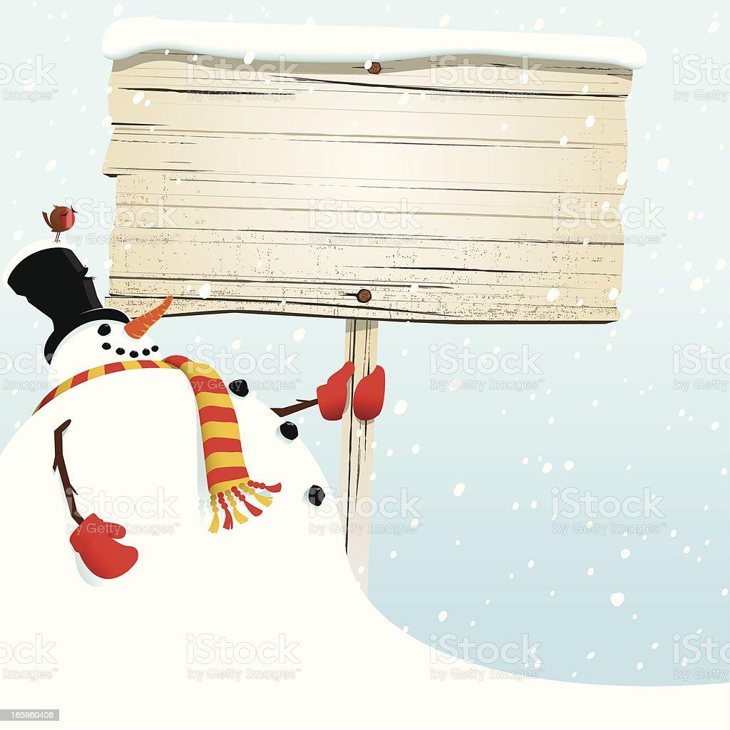 Christmas snowman holding blank sign royalty-free stock vector art