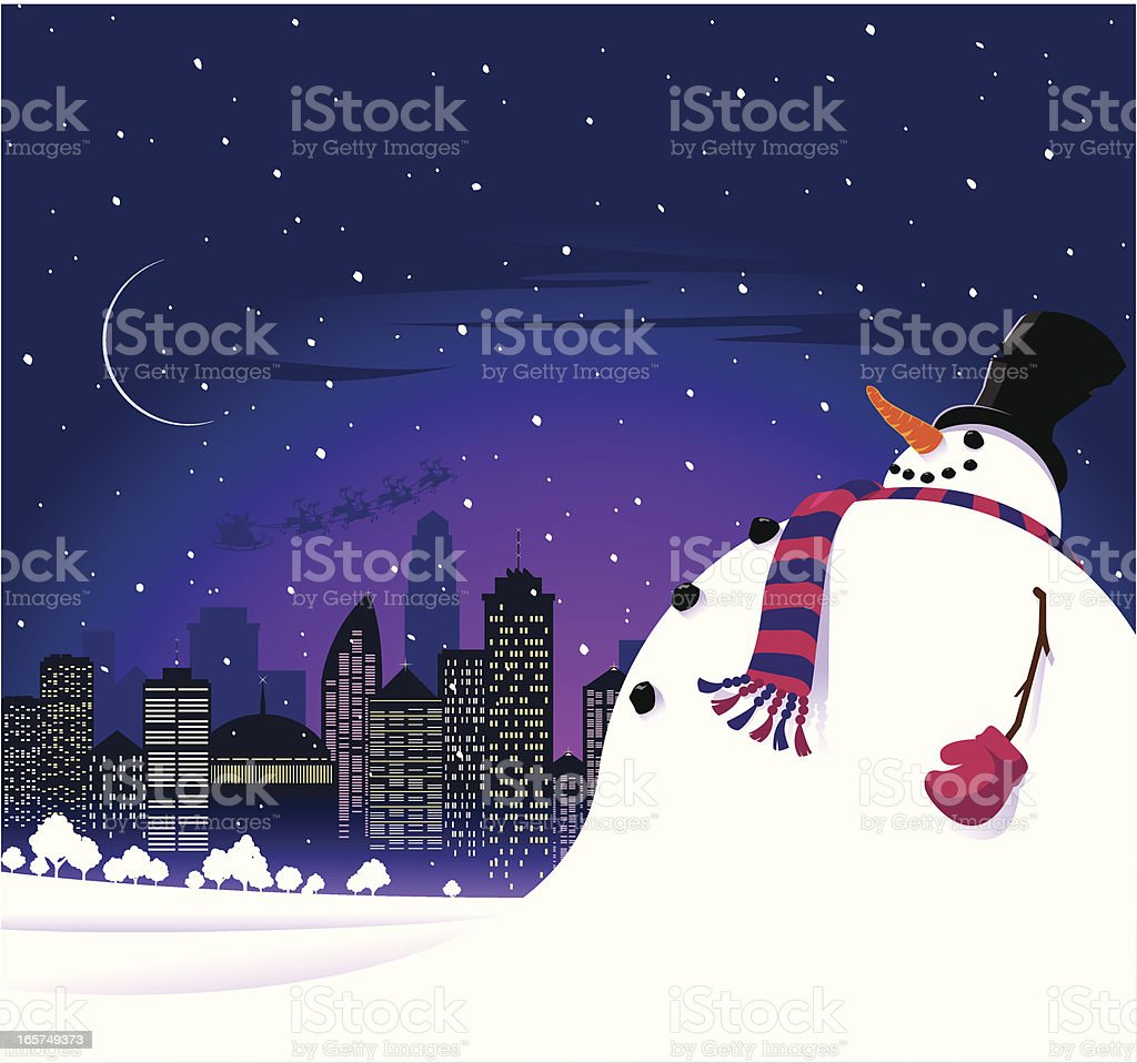Christmas snowman in the city vector art illustration