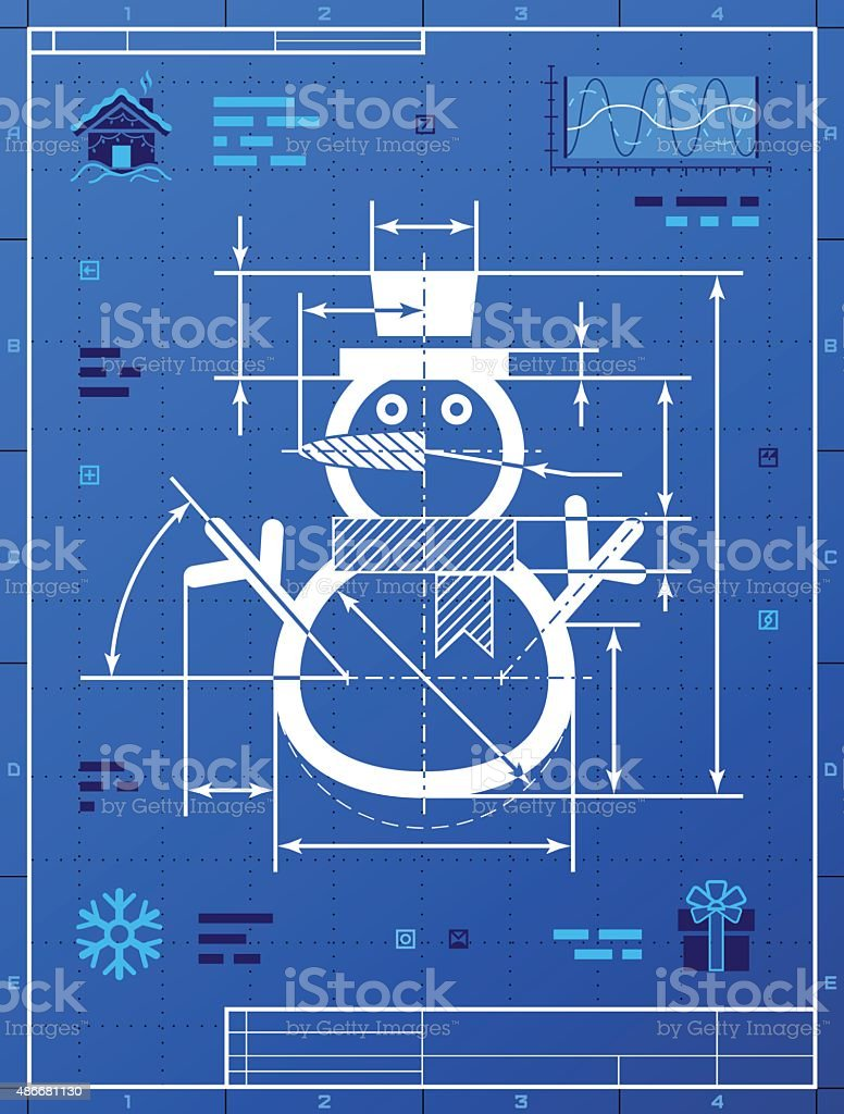 Christmas snowman symbol as blueprint drawing vector art illustration
