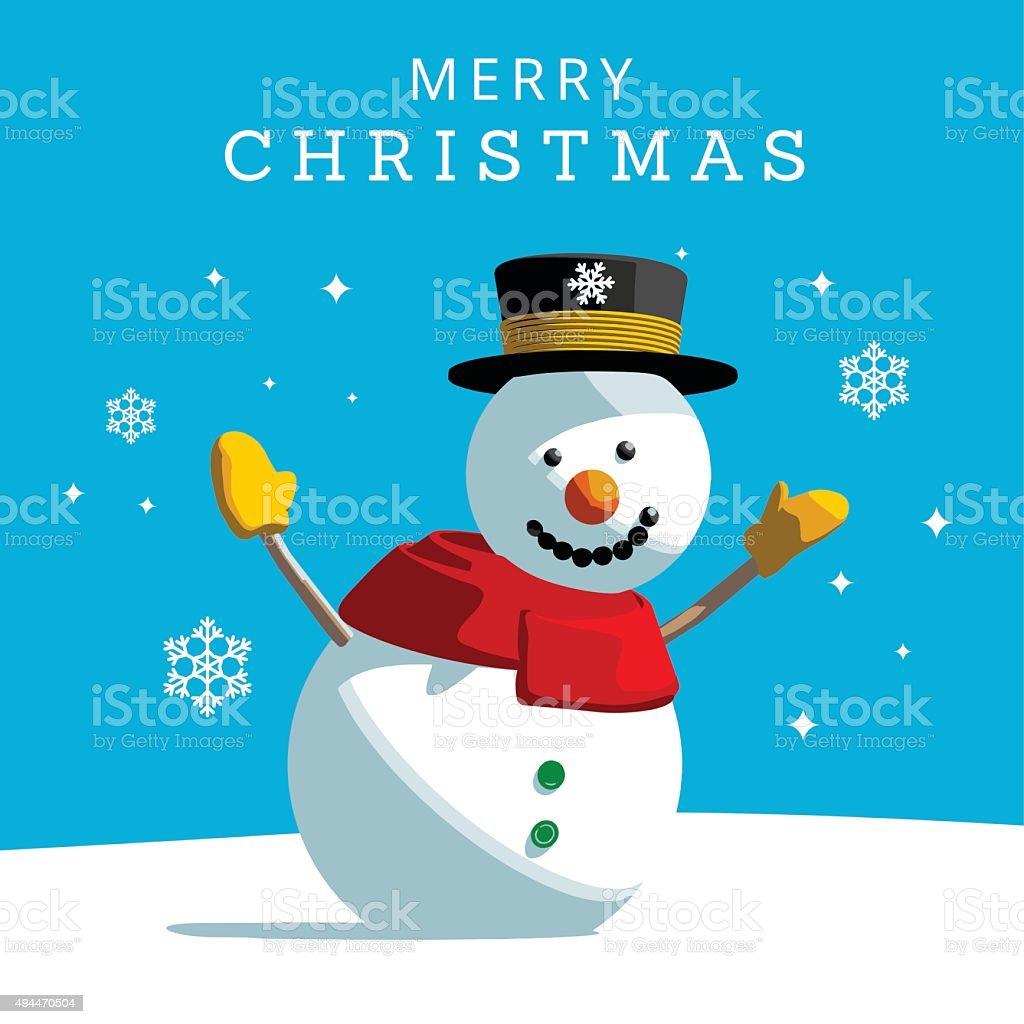 Christmas Snowman vector art illustration