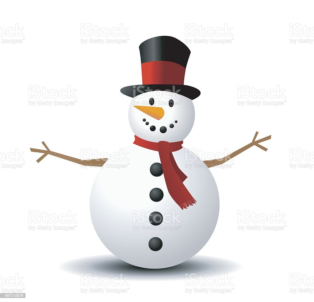 Christmas Snowman vector art illustration