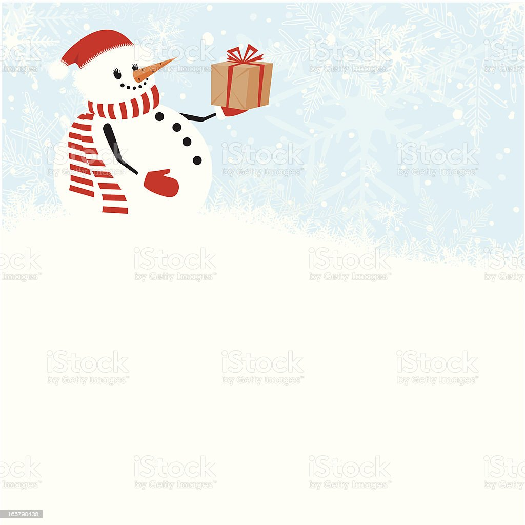 Christmas snowman with gift royalty-free stock vector art