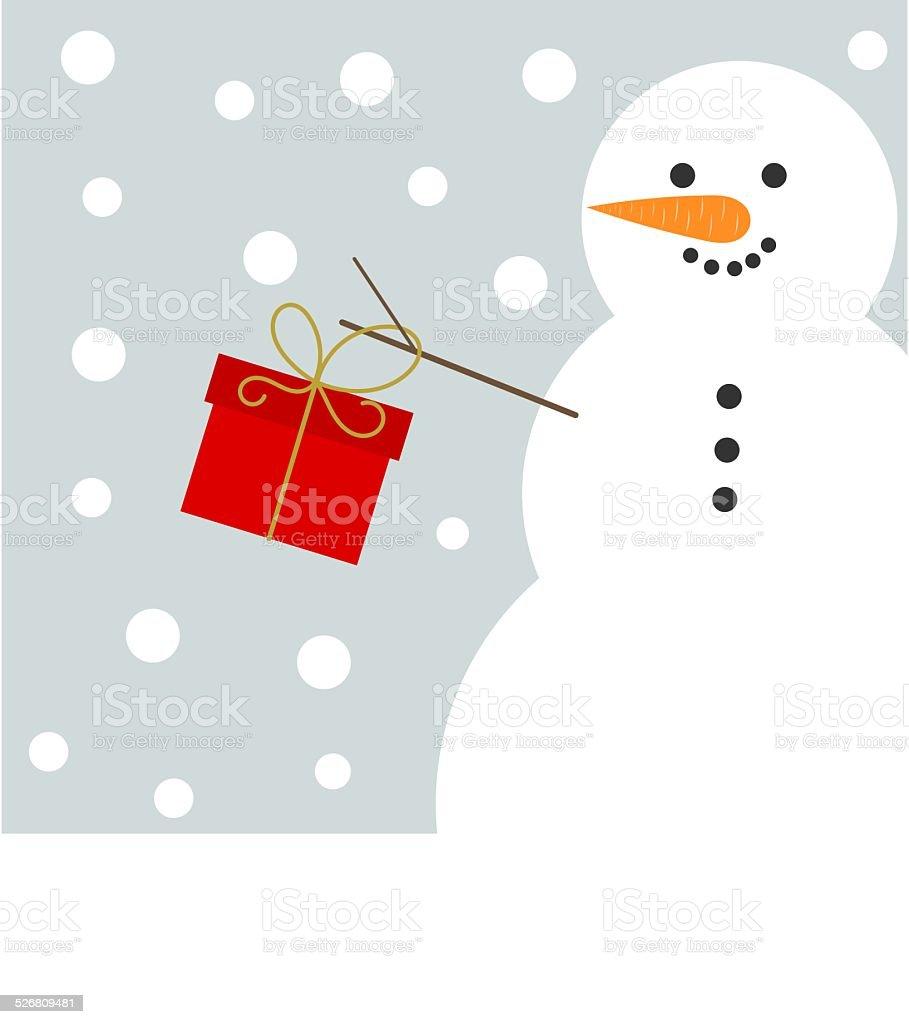 Christmas snowman with present vector art illustration