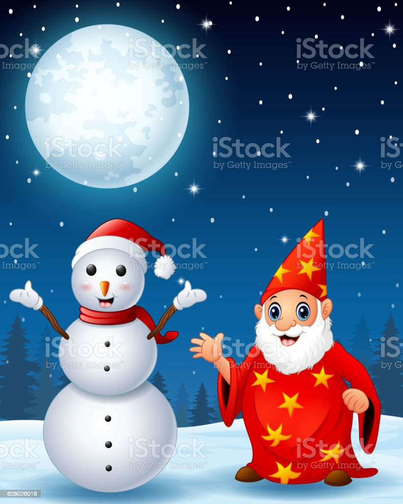 Christmas snowman with red old wizard vector art illustration