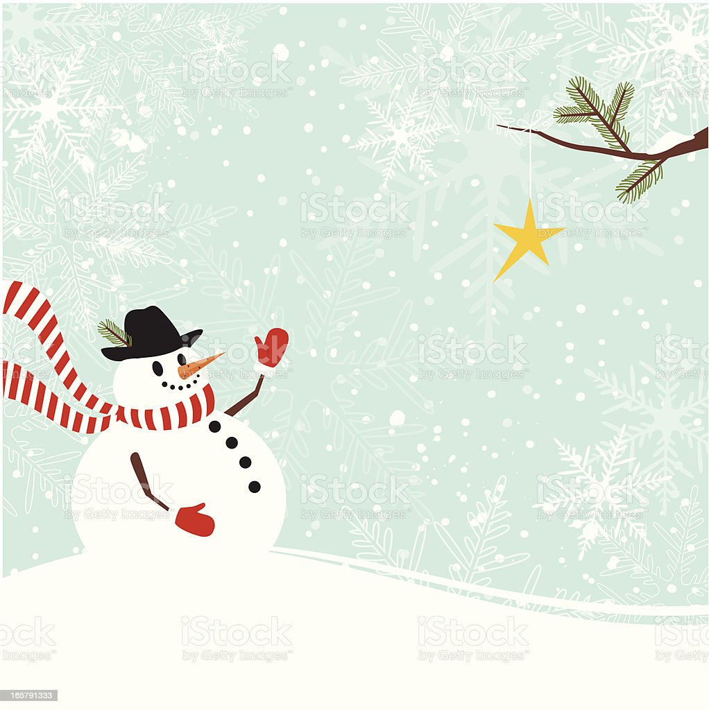 Christmas snowman with star royalty-free stock vector art