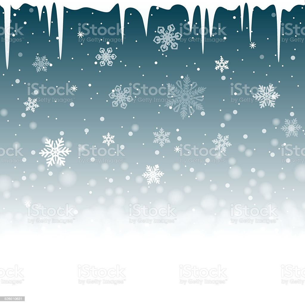 Christmas snowy background with icicles vector art illustration