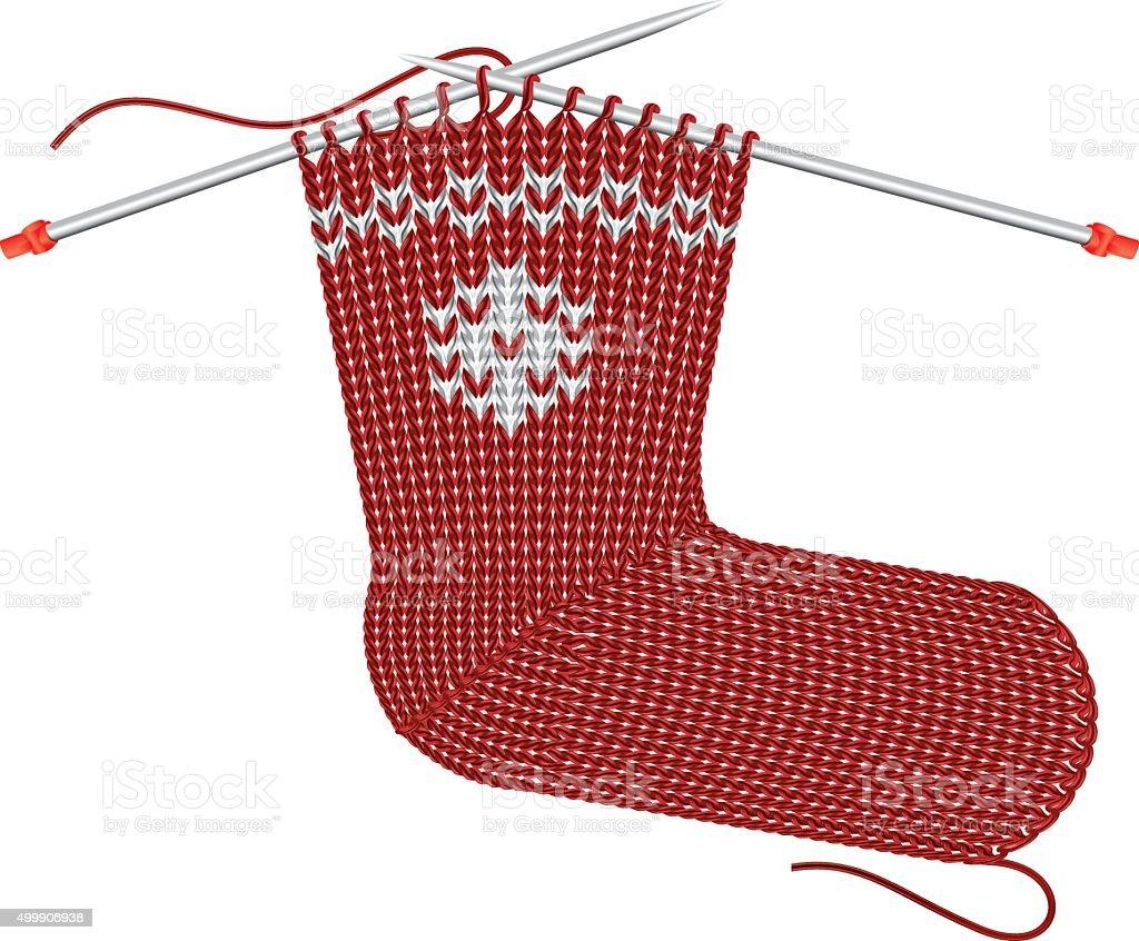 Christmas Sock Knitting on the needles vector art illustration