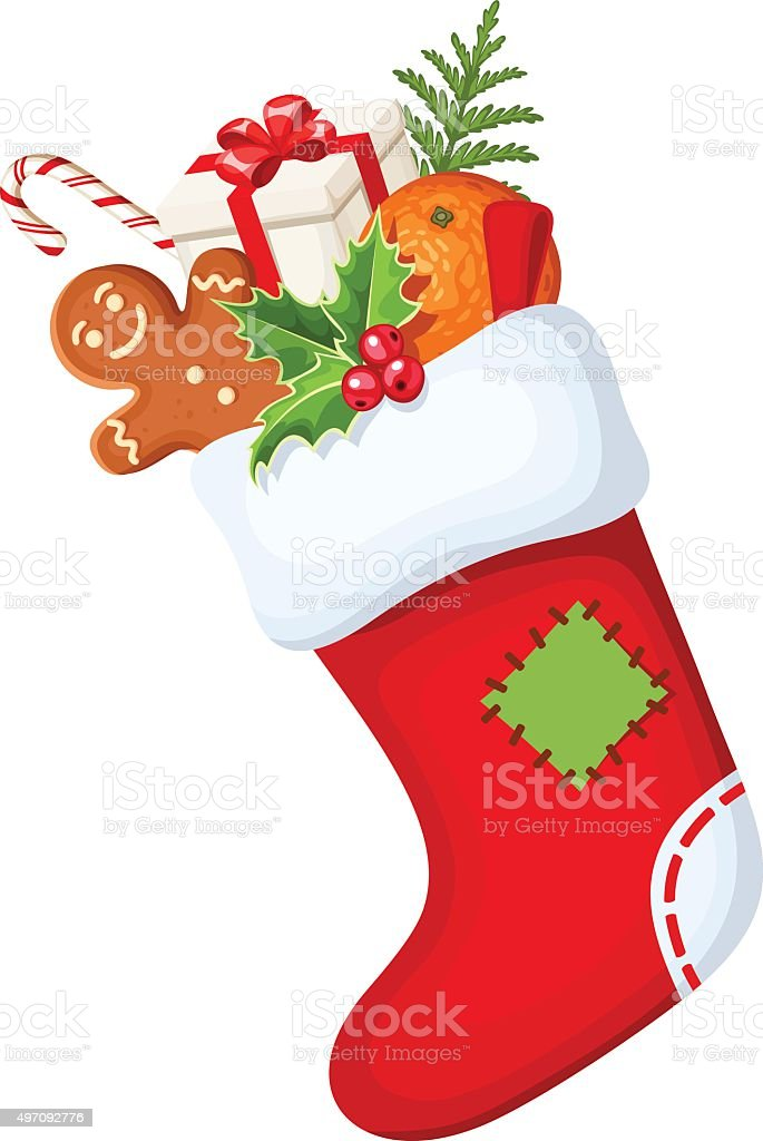 Christmas sock with gifts. Vector illustration. vector art illustration