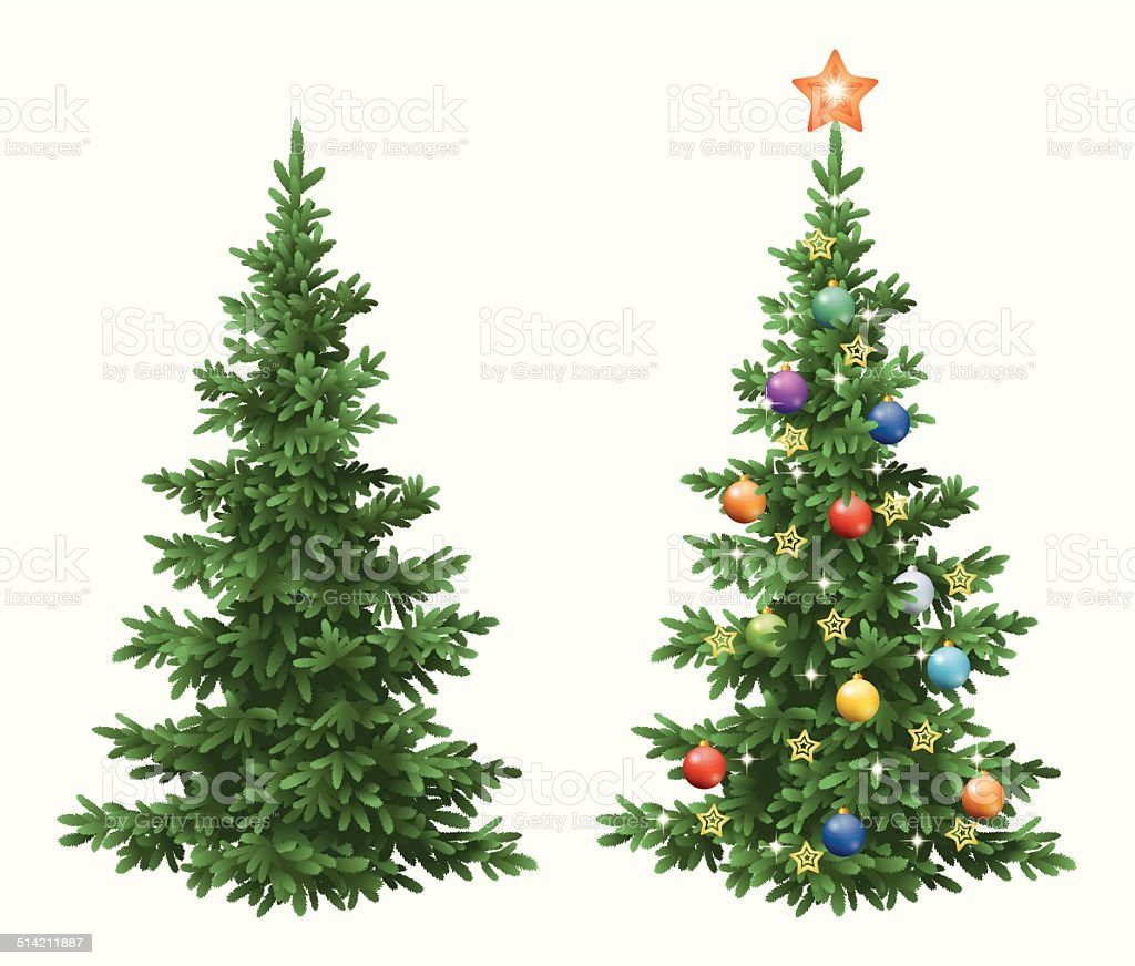 Christmas spruce fir trees with ornaments vector art illustration