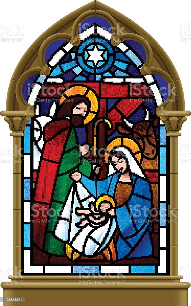 Christmas stained glass window in gothic frame vector art illustration