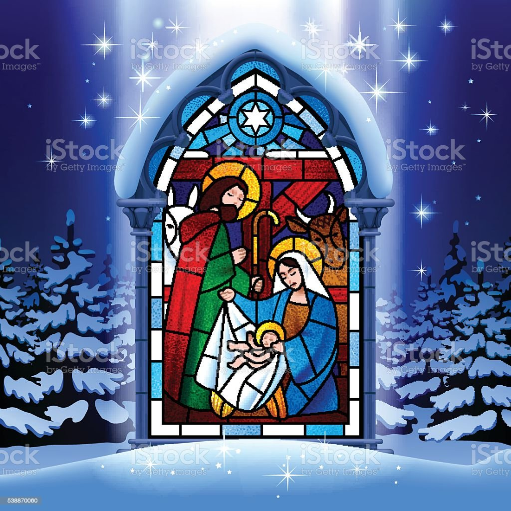 Christmas stained glass window in winter forest vector art illustration