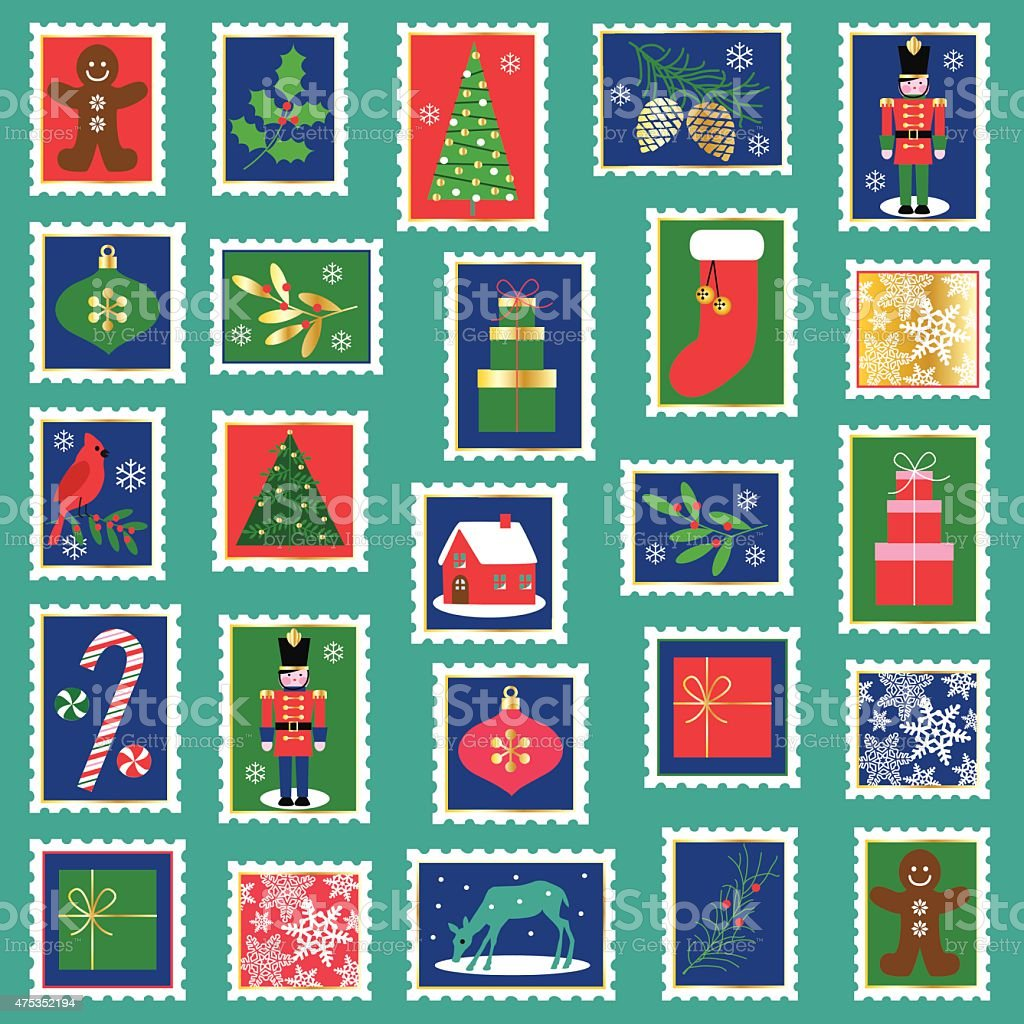 Christmas stamp clipart vector art illustration