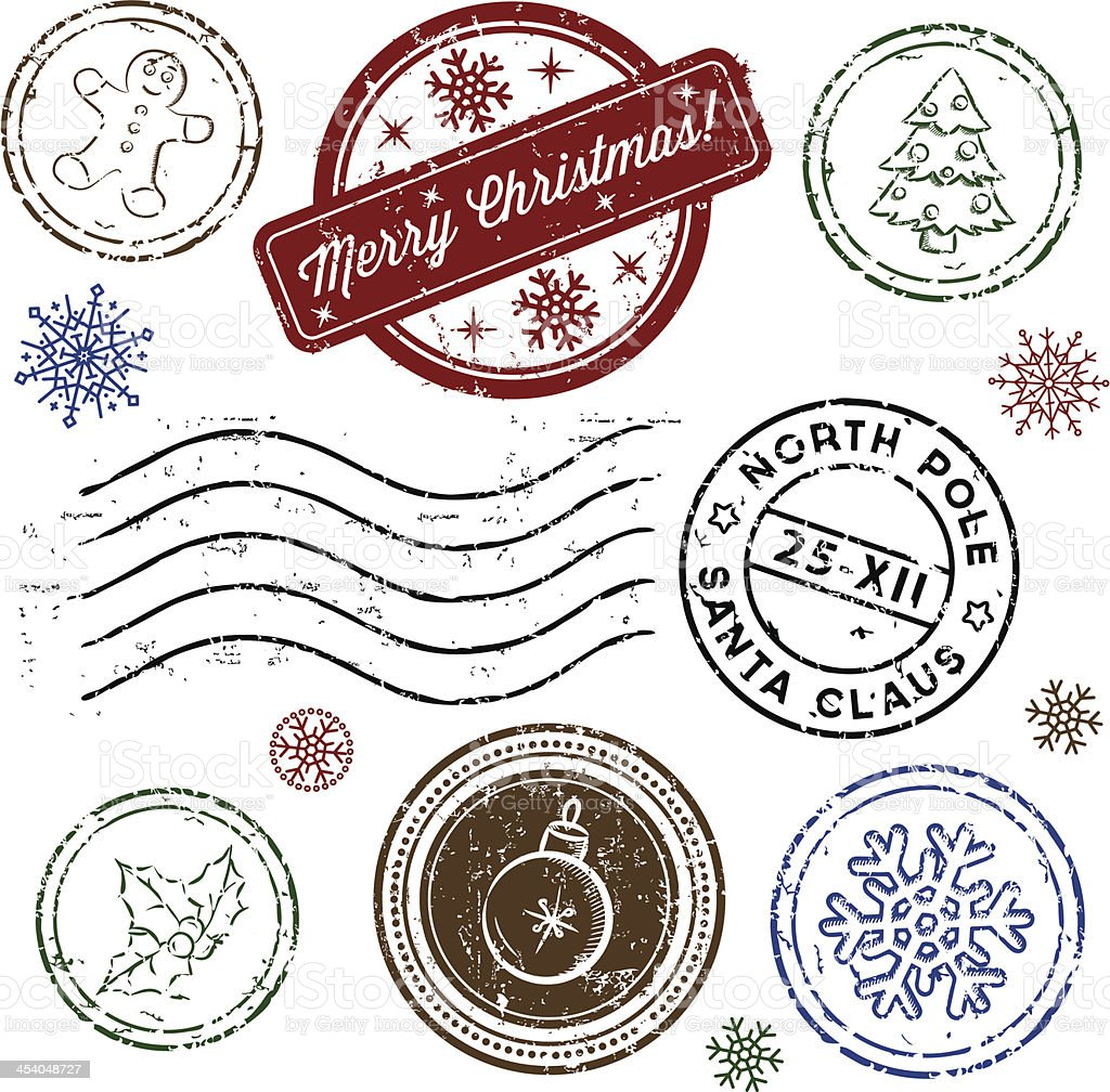 Christmas stamp set isolated on white. Vector vector art illustration