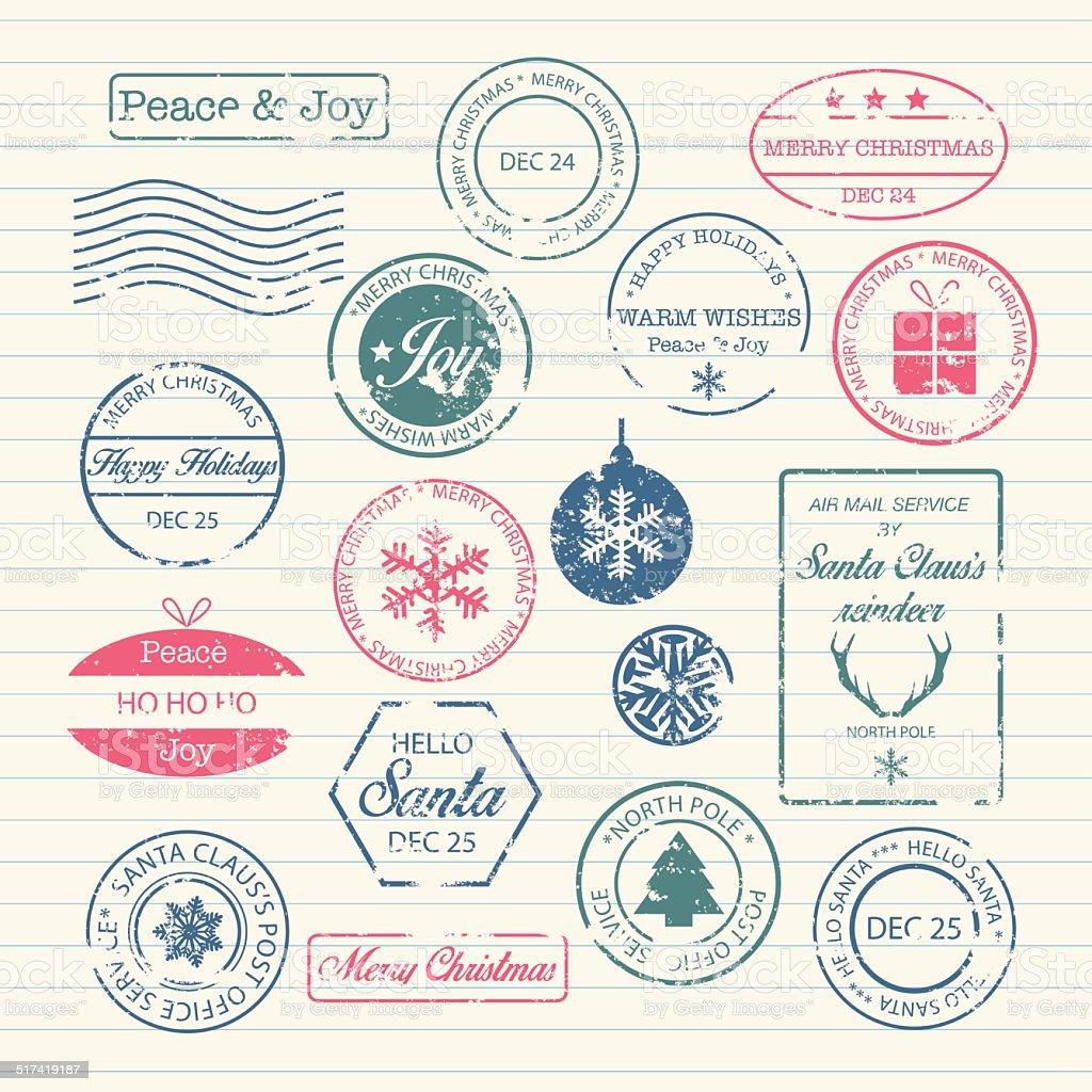 Christmas Stamps Set vector art illustration