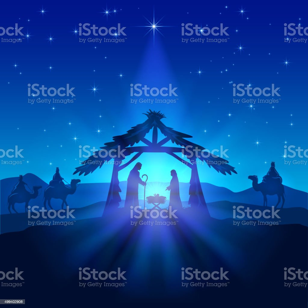 Nativity scene, Christmas star on blue sky and birth of Jesus,...