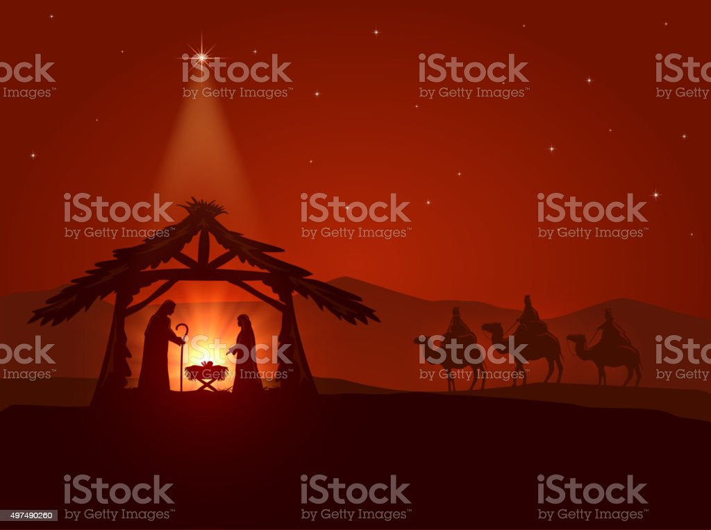 Christmas star and the birth of Jesus vector art illustration