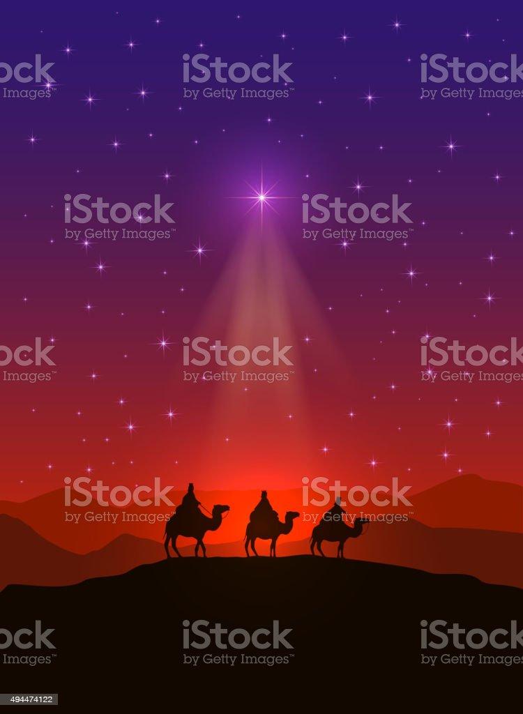 Christmas star and three wise men vector art illustration